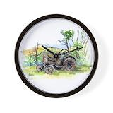 Old farm tractors Wall Clocks