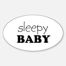 sleepy baby Oval Decal