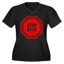 Say NO to RFID Women's Plus Size V-Neck Dark T-Shi