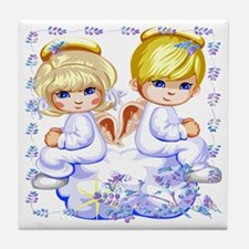 Girl and Boy Angels Tile Coaster