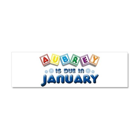 Aubrey is Due in January Car Magnet 10 x 3