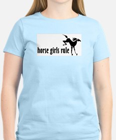 horse girls rule Women's Pink T-Shirt