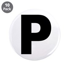 """Letter P 3.5"""" Button (10 pack)"""