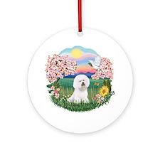 Blossoms-Bichon #1 Ornament (Round)