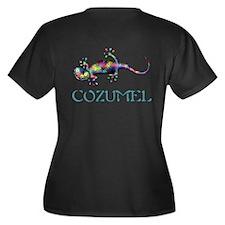 Gecko Women's Plus Size V-Neck Dark T-Shirt