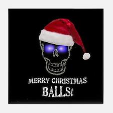 Merry Christmas Balls Tile Coaster