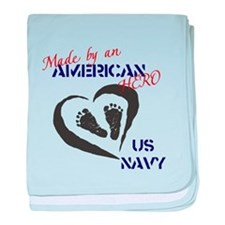 Made by American Hero - Navy baby blanket