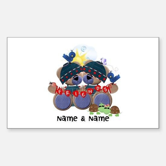 Customizable Bear Friends Sticker (Rectangle)