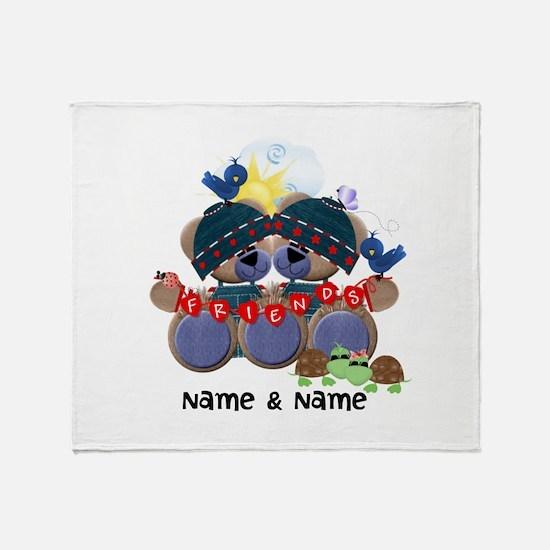 Customizable Bear Friends Throw Blanket