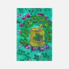 Four Leaf Clover and Flower Rectangle Magnet