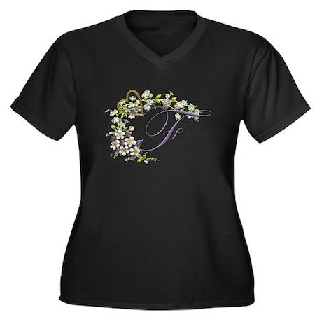 letter F Women's Plus Size V-Neck Dark T-Shirt