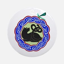 black cat & dragonfly Ornament (Round)