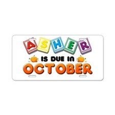 Asher is Due in October Aluminum License Plate