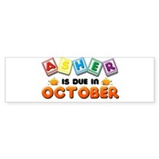 Asher is Due in October Bumper Sticker