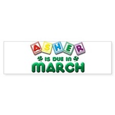 Asher is Due in March Bumper Sticker