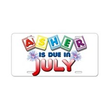 Asher is Due in July Aluminum License Plate
