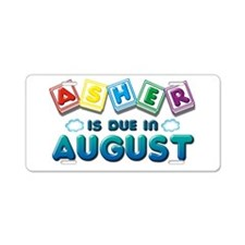 Asher is Due in August Aluminum License Plate