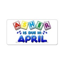 Asher is Due in April Aluminum License Plate