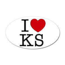 I Heart Kansas 22x14 Oval Wall Peel