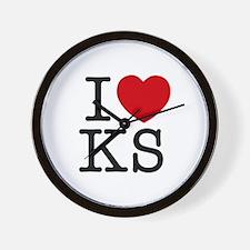 I Heart Kansas Wall Clock