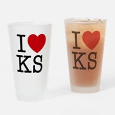 I Heart Kansas Drinking Glass