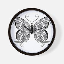 Damask Butterfly Wall Clock