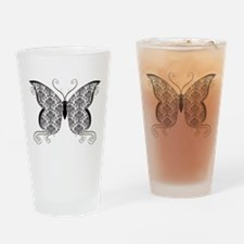 Damask Butterfly Drinking Glass