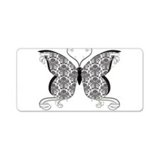 Damask Butterfly Aluminum License Plate