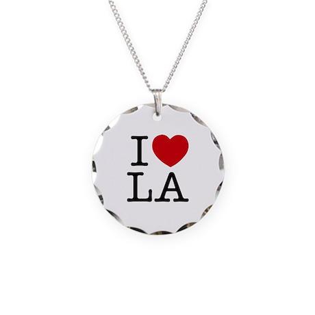 I Heart Las Angeles Necklace Circle Charm