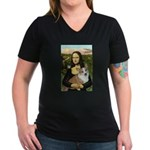 Mona - Corgi (Pembr-L) Women's V-Neck Dark T-Shirt