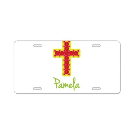 Pamela Bubble Cross Aluminum License Plate
