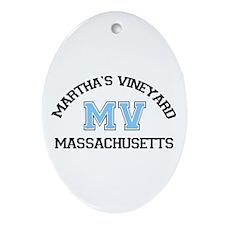 Martha's Vineyard MA - Map Design. Ornament (Oval)