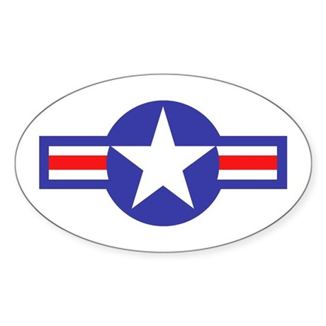 Air Force Star and Bars Oval Sticker