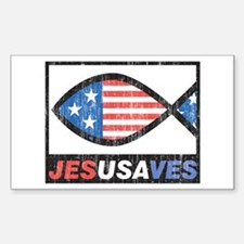 Patriotic Ichthus Jesus Saves Sticker (Rectangular