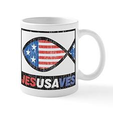 Patriotic Ichthus Jesus Saves Mug