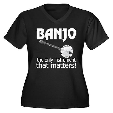 Banjo Music Instrument Women's Plus Size V-Neck Da