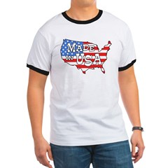 Made in USA Map Ringer T