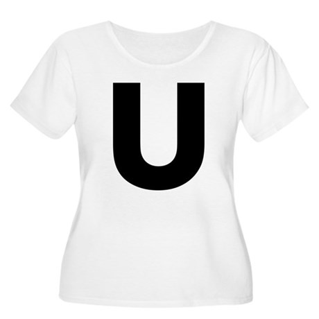Letter U Women's Plus Size Scoop Neck T-Shirt