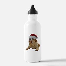 Bulldog Santa Water Bottle