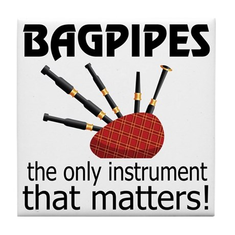 Bagpipes Music Instrument Tile Coaster