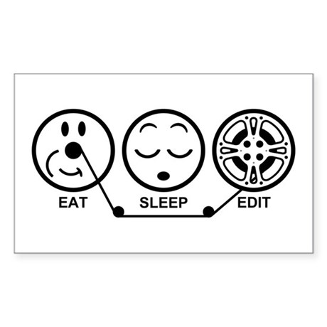 Eat Sleep Edit Sticker (Rectangle)
