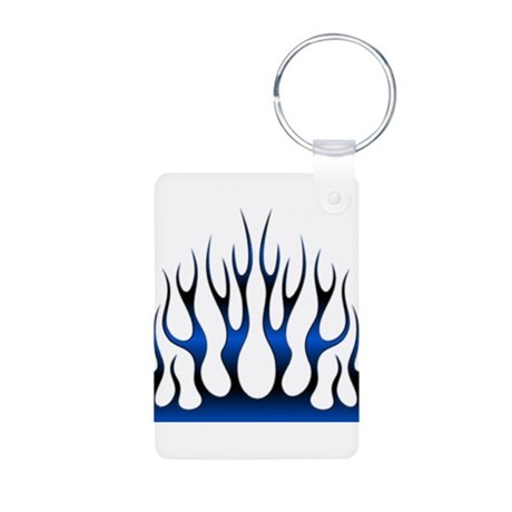 Tribal Flames Fire Blue Aluminum Photo Keychain