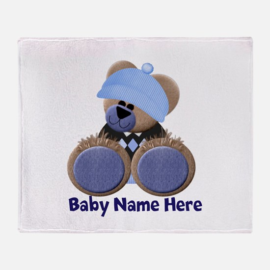 Customizable Boy Bear Throw Blanket
