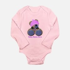 Customizable Bear Girl Long Sleeve Infant Bodysuit