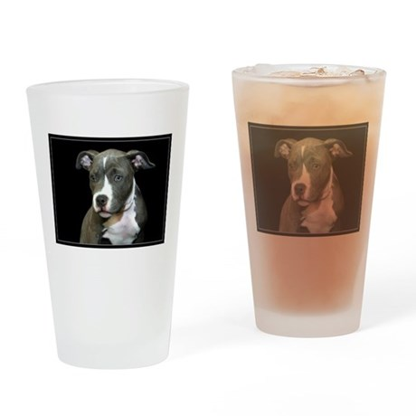 Pitbull Puppy Drinking Glass