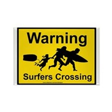 Surfers Crossing Rectangle Magnet