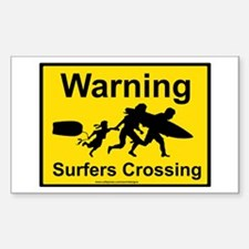 Surfers Crossing Sticker (Rectangle)
