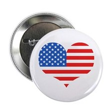 US Flag Heart Button