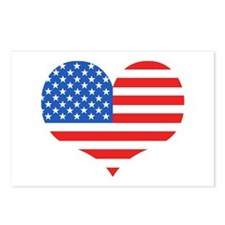 US Flag Heart  Postcards (Package of 8)