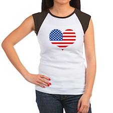 US Flag Heart Women's Cap Sleeve T-Shirt